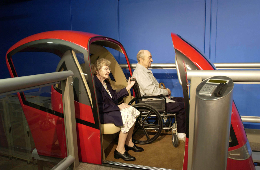 PRT cabs accommodate wheel chairs, bicycles and baby strollers.